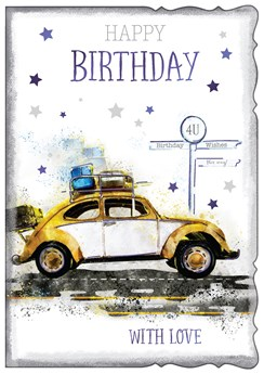 """Open Male Birthday Card - Brown and White Beetle Car with Blue Foil 7.75x5.25"""""""
