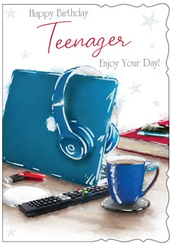 """Teenager Birthday Card - Laptop Headphones & Hot Drink with Glitter  7.5 x 5.25"""""""