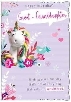 """Great Granddaughter Birthday Card- Unicorn & Flowers With Glitter 7.5x5.25"""""""