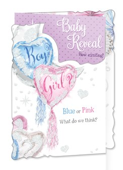 "Baby Shower Gender Reveal Greetings Card - Boy or Girl Balloons Streamers 9"" x 6"