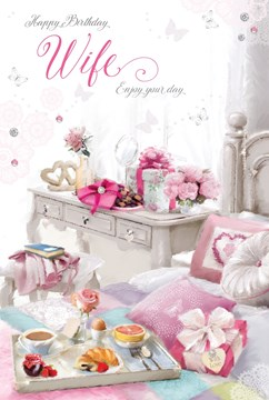 """Wife Birthday Card - Bed, Breakfast Tray, Rose, Dressing Table & Present 9"""" x 6"""""""