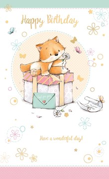"Open Female Birthday Card - Little Fox, Pink Gift Box & Butterflies 9"" x 5.25"""