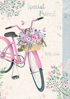 "Special Friend Birthday Card - Pink Bicycle, Flowers & Butterflies 7.75"" x 5.25"""