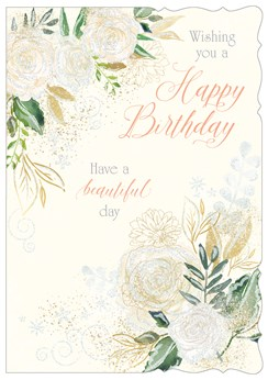 "Open Female Birthday Card - Ivory Glitter Roses & Green Leaves 7.75"" x 5.25"""