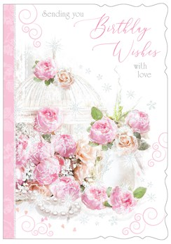 "Open Female Birthday Card with Glitter - Pale Pink & Peach Flowers 7.75"" x 5.25"""