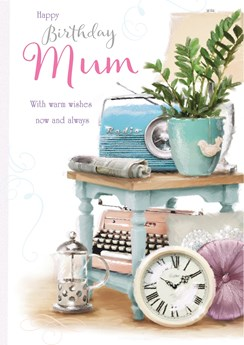 "Mum Birthday Card - Retro Blue Radio, Typewriter, Clock & Cafetiere 9.5"" x 6.75"""