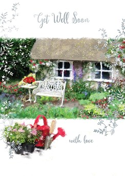 "Get Well Soon Greetings Card - Cottage, Flowers & Red Watering Can 7.75"" x 5.25"""