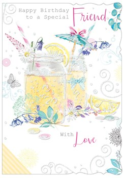 "Special Friend Birthday Card - Mason Jar, Lemons, Limes & Umbrella 7.75"" x 5.25"""