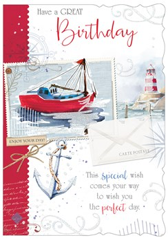 "Open Male Birthday Card - Seaside Boat, Lighthouse & Anchor 7.75""x5.25"""