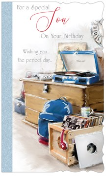 "Son Birthday Card - Vinyl Record Player, Blue Rucksack with Glitter 9"" x 5.25"""