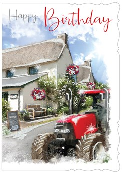 "Open Male Birthday Card with Glitter - Country Pub and Red Tractor 7.75"" x 5.25"""