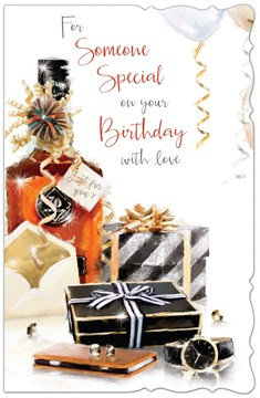 """Someone Special Birthday Card - Whiskey Bottle, Phone, Watch & Gifts 10.75"""" x 7"""""""