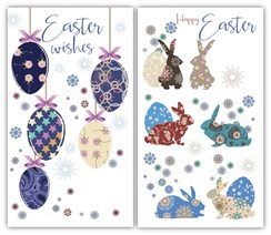 "Set Of 2 Happy Easter Greetings Card - Floral Rabbits & Easter Eggs 6"" x 3.25"""