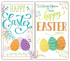 "Set Of 2 Happy Easter Greetings Card - Bright Text & Big Easter Eggs 6"" x 3.25"""