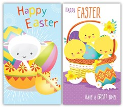 Pack Of 6 Easter Greetings Cards - 2 Designs - Cute Chicks Lamb & Eggs