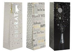 """Set Of 3 Bottle Unisex Gift Bags - Congrats, Birthday Text & Champagne 14"""" x 5"""""""