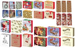 Set Of 30 Assorted Christmas Gift Bags & Attached Tags - Mixed Designs & Sizes