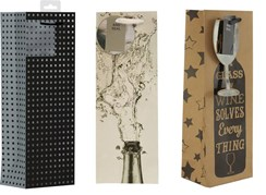 "Set Of 3 Bottle Male Gift Bags - Squares, Wine Glass & Flowing Bottle  14"" x 5"""