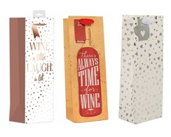 "Set Of 3 Bottle Unisex Gift Bags - Laugh A Lot, Time For Wine & Hearts 14"" x 5"""