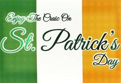 "Happy St Patrick's Day Greetings Card -Irish Flag Green Foiled Writing 7.5x5.25"""