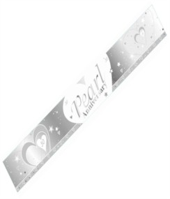 30th Pearl Wedding Anniversary 30 Silver Foil Celebration Party Banner