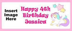 Personalised Landscape Party Banner - Pink Unicorn - Add Your Own Photo & Text
