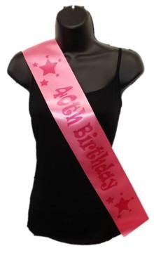 Hot Pink Happy 40th Birthday Party Satin Ribbon Sash - Age 40 Pink Stars