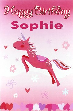 """Open Female Personalised Birthday Card - Any Name - Hot Pink Unicorn 8.5"""" x 5.5"""""""