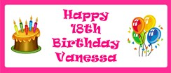 Personalised Landscape Party Banner - Pink Cake & Balloon - Add Your Own Message