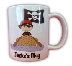 Children's Personalised Pirate Mug With Gift Box - Any Name, Birthday, Xmas