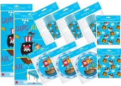 Pirate Party Tableware Pack for 24 People, Table Cover, Napkins, Cups & Plates