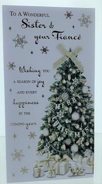 Sister & Fiance Christmas Card - Xmas Tree With Gifts Gold Bow & Foil  9 x 4.75""