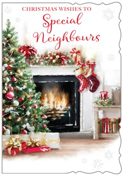 """Neighbours Christmas Card - Tree Fire Place & Gifts With Glitter 7.5""""x5.25"""""""
