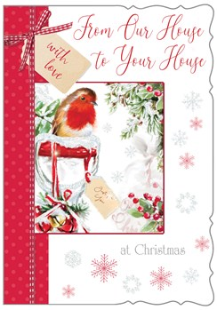 House to House Christmas Card - Robin and Holly with Glitter 7.5x5.25""