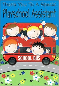 """Thank You Playschool Assistant Greetings Card - Kids on School Bus 7.5"""" x 5.25"""""""