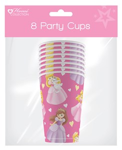 Pack of 8 Childrens Birthday Party 9oz Paper Cups - Girl's Princess