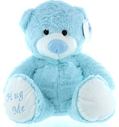 "16"" Blue George Baby Boy Teddy Bear Soft Toy Plush Wearing Sheer Blue Ribbon"