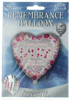 "Loving Memory 18"" Foil Remembrance Balloon (not inflated) - Heart Mum"