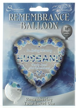 "Loving Memory 18"" Foil Remembrance Balloon (not inflated) - Heart Husband"