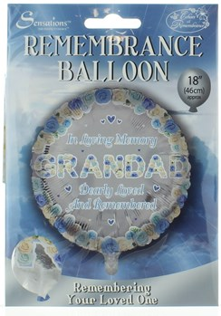 "Loving Memory 18"" Foil Remembrance Balloon (not inflated) - Round Grandad"