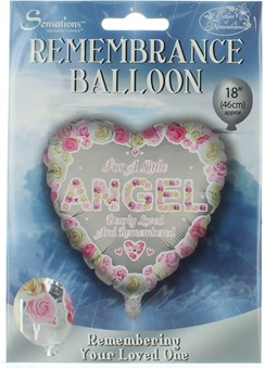 """Loving Memory 18"""" Foil Remembrance Balloon not inflated- Little Angel Pink Heart"""