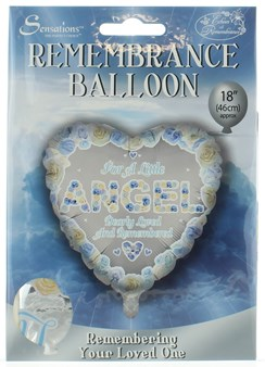 "Loving Memory 18"" Foil Remembrance Balloon not inflated- Little Angel Blue Heart"
