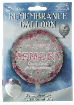 """Loving Memory 18"""" Foil Remembrance Balloon not inflated Loving Memory Pink Round"""