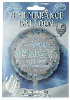 """Loving Memory 18"""" Foil Remembrance Balloon not inflated Loving Memory Blue Round"""