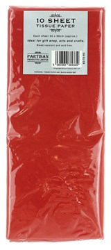 Pack Of 10 Plain Red Tissue Paper Sheets 50cm x 66cm - Perfect Gift Wrap