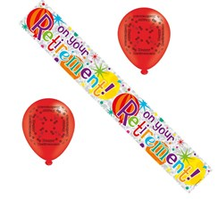 Retirement Party Pack - Foil Banner and Multicoloured Latex Balloons