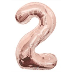 """Large Rose Gold Metallic Number 2 Foil Helium Balloon 34""""/87cm (Not Inflated)"""