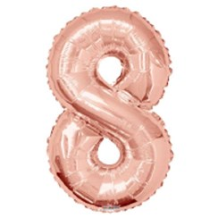 """Large Rose Gold Metallic Number 8 Foil Helium Balloon 34""""/87cm (Not Inflated)"""