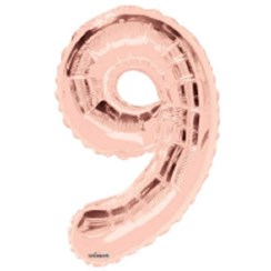 """Large Rose Gold Metallic Number 9 Foil Helium Balloon 34""""/87cm (Not Inflated)"""