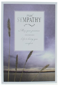 With Sympathy Condolence Card - Sunset Sky with Silver Foiled Writing 7.75x5.25""
